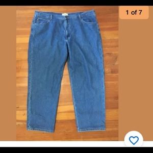 Men's LL Bean Lined flannel blue jeans 46x32 new